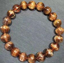 Natural Copper Hair Rutilated Quartz Cat Eye Crystal Beads Bracelet 10 mm AAAAA