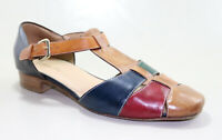 QUERCIOLI FIRENZE  Sandales Cuir Multicolore Pointure 38 TBE ( made in italy)