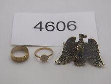 Vintage Jewelry LOT OF 3 Rings GOLD TONE RHINESTONES 4606