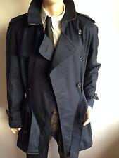 Burberry London para hombre XL grande 42-44 Diseñador Gabardina Impermeable Chaqueta Azul Marino