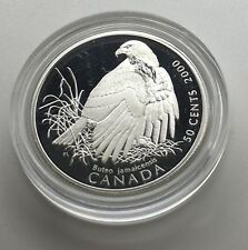 Canada 2000 50 Cents Red Tailed Hawk  Sterling Silver Birds Of Prey Wildlife