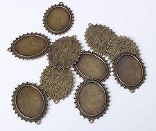 10pcs 40mm Oval Antique Bronze Bezel Cameo Pendant Cabochon Setting