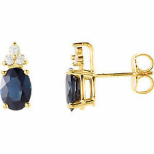 Blue Sapphire & Diamond Accented Earrings In 14K Yellow Gold (1/8 ct. tw