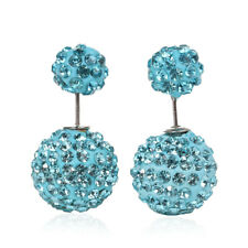 DOUBLE BALL  BLUE  SPARKLY  EAR STUDS,  in GIFT BAG &  *FREE*  SAME DAY POSTAGE