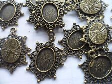 20 x Earring~Pendant Making Settings bezels Antique Bronze bases  14x10mm tray