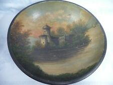 """VINTAGE/ANTIQUE FRENCH COUNTRY WOOD BOWL w/HAND PAINTED SCENIC, 14"""""""
