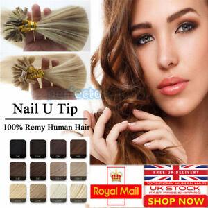 7A Pre Bonded U Nail Tip Keratin Human Brazilian Remy Hair Extensions UK 1G N304