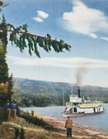 Postcard, Boat, View On Peace River Hand Tinted Canada Vintage P43