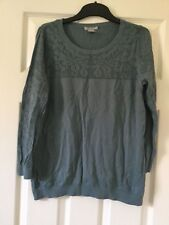 Ladies green jumper knitted thin H&M used little ok condition long sleeve size L