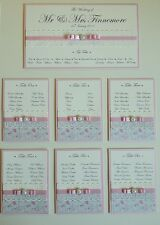 Rose Garden A2 mounted Wedding Table Plan for up to 6 tables and top. Lace pearl