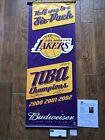 LA Lakers Kobe Shaq & Fisher signed Budweiser banner 2000-01-02 center Panini