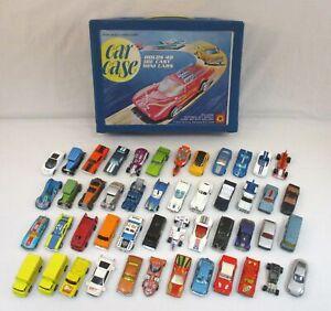Lot Of 48 Vintage Die Cast Cars Hot Wheels Matchbox Corgi w/Case 1970s-90s