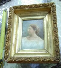 Mystery Antique Victorian Portrait Photo with Brush Strokes of Paint