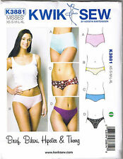 Misses Panties Bikini Hipster Brief Thong Panty Kwik Sew Sewing Pattern Sz XS-XL