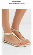 Jimmy Choo Afia Studded Leather Sandals  Flat Flip Flop Slingback 40 Shoes