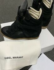 Isabel Marant Beckett Black Suede Wedge High Top Sneakers Size UK7 EU40 US10