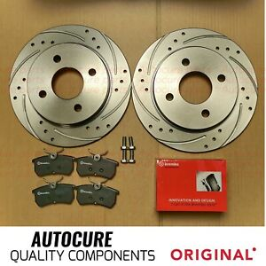 FOR FORD FIESTA ST-2 MK7 12-17 REAR DRILLED BRAKE DISCS WITH BREMBO PADS