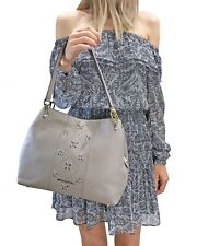 MICHAEL KORS LEIGHTON LARGE SHOULDER TOTE LEATHER BAG PEARL GREY