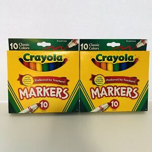 Lot Of 2 Crayola Broad Line Markers Assorted Classic Colors Box Of 10