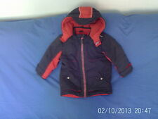 Boys 2-3 Years - Grey & Red Padded Hooded Coat - Mothercare