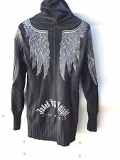 JADED BY KNIGHT ~ Lost Angels Black hoodie w/ silver Wings embroidered Small LA