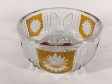 Bohemian Yellow Cut To Clear Crystal Bowl (ref B280)