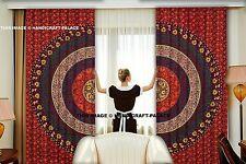 Mandala Curtains Ethnic Indian Wall Drapery 2 Valances Panel Set Scarf Hippie
