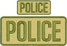 POLICE embroidery patch  4x10 and 2x5 hook od green and tan