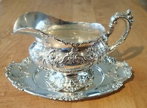 Reed & Barton Sterling Silver Francis I 570A Gravy Boat and Matching Plate