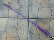 New Purple Full End-To-End Leather Riding Crop Quirt Equestrian - Stick Bullwhip