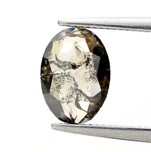 Slice Real Natural Diamond 0.89Ct Brownish Gray Sparkling Oval Rose Cut for Gift