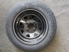 5x12 Weller Stil Stahlfelge schwarz & 145 70 12 Reifen für Klassisch Mini /