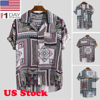 Men Beach Ethnic Print Turn Down Collar Short Sleeve Hawaiian Casual Shirts US