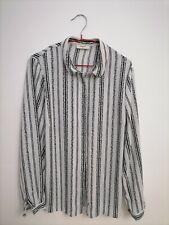 Blouse, Size 16, Papaya, White-Black, Striped, Buttoned, Long Sleeves
