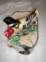 Vintage Ceramic Oriole Bird On A Log Wall Pocket Hand Painted Made In Japan