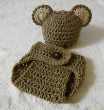 Newborn Baby Beanie and Diaper Cover Set--Hand Crochet--Photo Prop