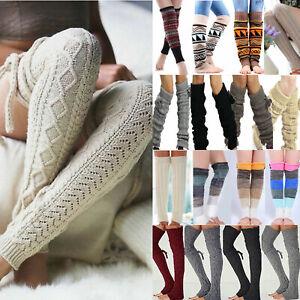 Winter Women Leg Thick Warmer Knee High Crochet Knit Legging Long Boot Stockings
