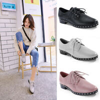 Womens Flat Derby Shoes Lace Up Smart Office Brogue Pump Oxford Sneakers Casual