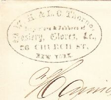Thorne Importers Hosiery Gloves New York Oval Handstamp Ad 1863 NY Fancy Cover ¬