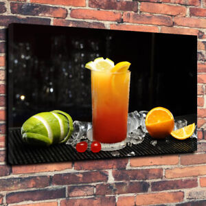 """Orange Cocktail Printed Canvas Picture A1.30""""x20"""" 30mm Deep Wall Art Bar Room"""