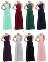 Long One Shoulder Chiffon Bridesmaid Evening Party Prom Gowns Ball Womens Dress