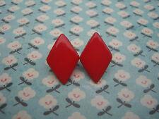 FUNKY RED DIAMOND EARRINGS CASINO POKER KITSCH CUTE RETRO EMO LOVE NOVELTY