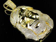Hombre Acabado De Oro Amarillo Cara Jesus Diamante Sintético Charm Colgante