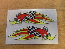2x woody woodpecker flames stickers - helmet decals.  90mm pair.