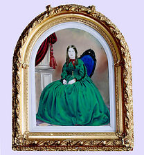 PORTRAIT OF A LADY & 1850s-1860s SALT PRINT, HAND COLORED, SIGNED, MATTED/FRAMED