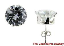 Sterling Silver 10mm Round CZ Circle Stud Earrings ZS10