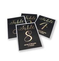 A5 PERSONALISED BLACK GOLD FOIL TABLE NUMBER CARDS WEDDING PARTY (1-12) CARD