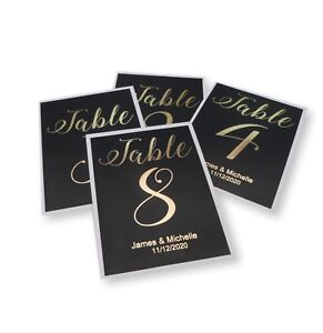 A6 PERSONALISED BLACK GOLD FOIL TABLE NUMBER CARDS WEDDING PARTY (1-12) CARD