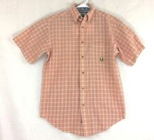 Wrangler Riata Shirt Mens Short Sleeve Button Front Plaid Horse Logo EUC Polo