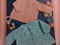 """Knitting Pattern Baby Girl Lacy Cardigans 2 Designs 4 Ply 18-19"""" Chest Vintage"""